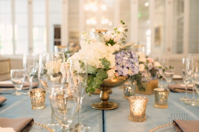 Footed gold bowl centerpiece