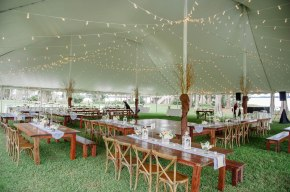 Grand reception shot of our reception table and tent pole decor. Decorated the tent poles with our gold curly willow branches to maintain the natural and elegant theme.