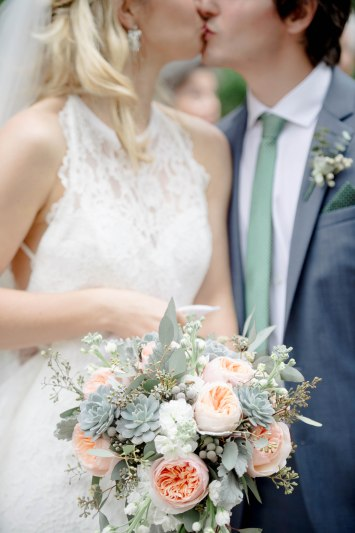 Love all the textures used inside this bridal bouquet. We used Succuluents, Juliets, Brunia, White Stock, and Euchs to bring our bride's dream bouquet together.