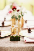 Gold table numbers sitting on top of a mossy stand