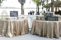 Shimmer and Shine favors and tables to greet the guests.
