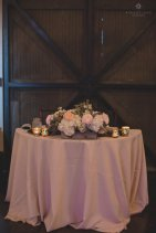 Sweetheart table with white hydrangea, ranunculus, garden roses, and eucalyptus.