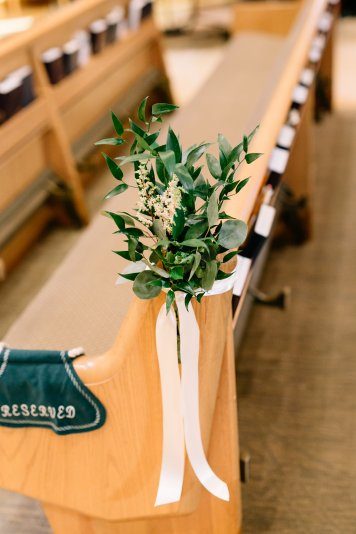greenery, pews, church wedding, ceremony pieces, aisle arrangements, greenery attachment