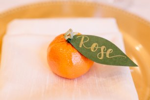 citrus floral, orange placement card, estate wedding, southern wedding, florida wedding
