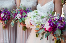 The Bridesmaids bouquets, filled with Stock, Celosia, and Eucalyptus, highlighted the more subtle tones of the Brides bouquet.