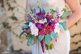 The Bridesmaids bouquets, filled with Stock, Celosia, and Eucalyptus