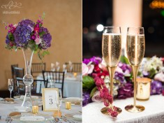 Tall centerpieces filled with purple Hydrangea and fuchsia Carnations created a stunning image on our trumpet vases.