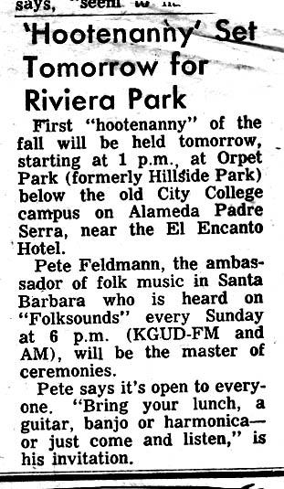 Peter's Hootenany, Orpet Park, Santa Barbara CA 1962