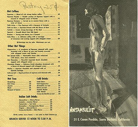 The Noctambulist's menu