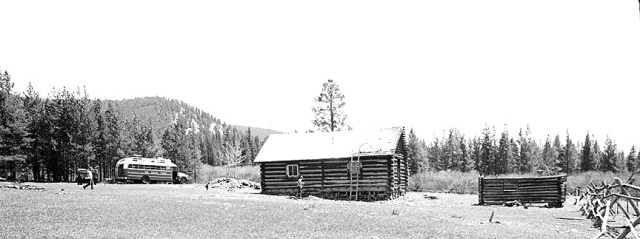 The Scragg Family bus at the McGeorge cabin, Philipsburg, MT.