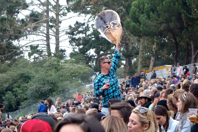 Ben Stiller face in the crowd at Outside Lands