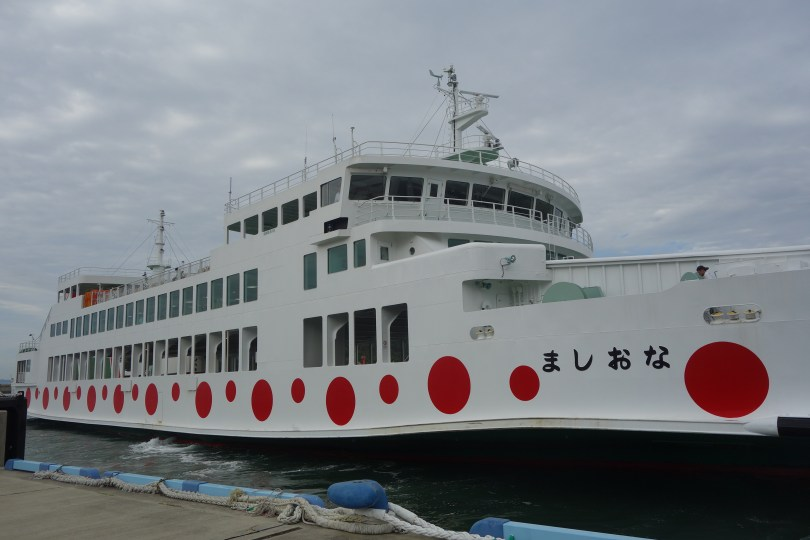 Ferry to and from island is painted to match Kasuma's pumpkins