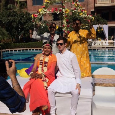 Bride and groom at Haldi