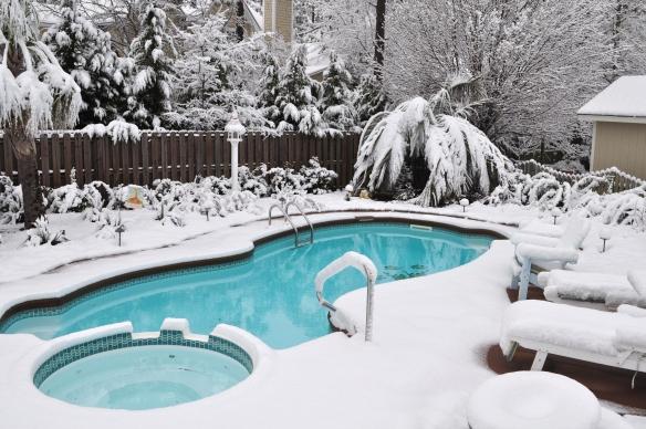inground pool in winter