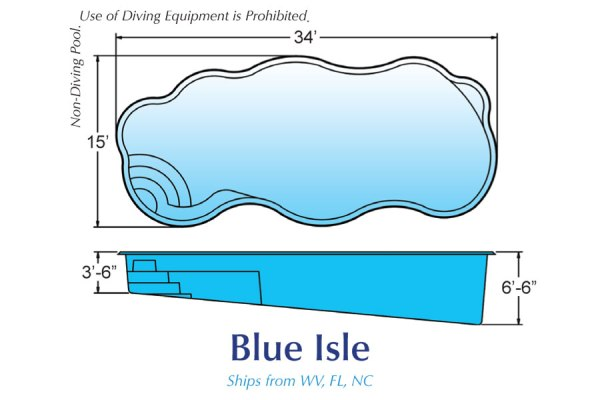 In Ground Fiberglass Swimming Pools Shell for Sale in Michigan Blue Isle