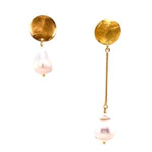 18KY Plated Asymmetrical Pearl Dangle Earrings