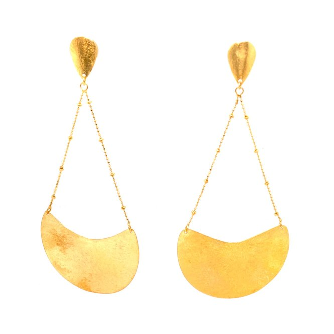 Front view of 18ky plated half moon dangle earrings by Creative Brazil.