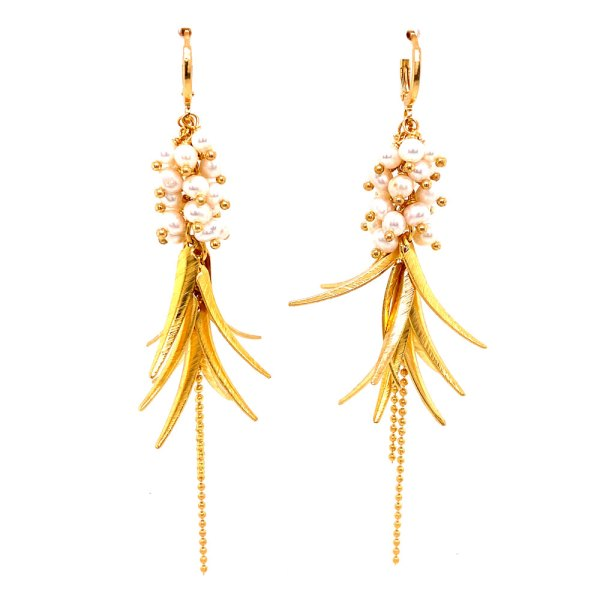 18KY Plated Pearl Bead Feather Dangle Earrings