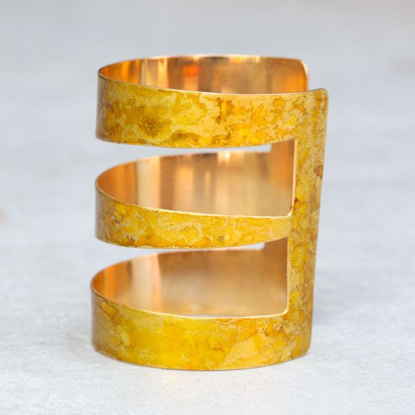 Gold Angle Cuff side view.
