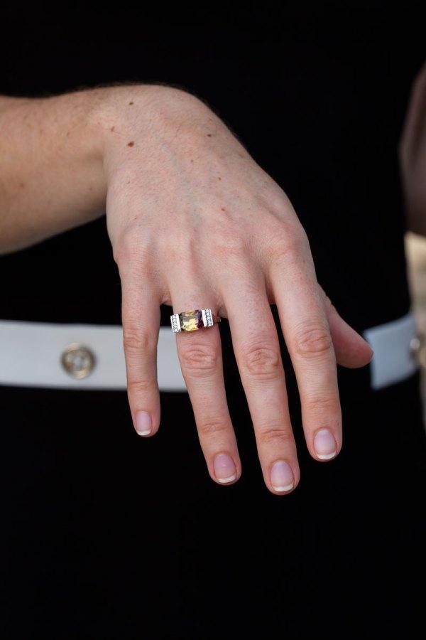 Ametrine Quartz Ring on a models hand.