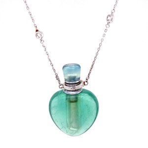 Green Fluorite Heart Aromatherapy Pendant