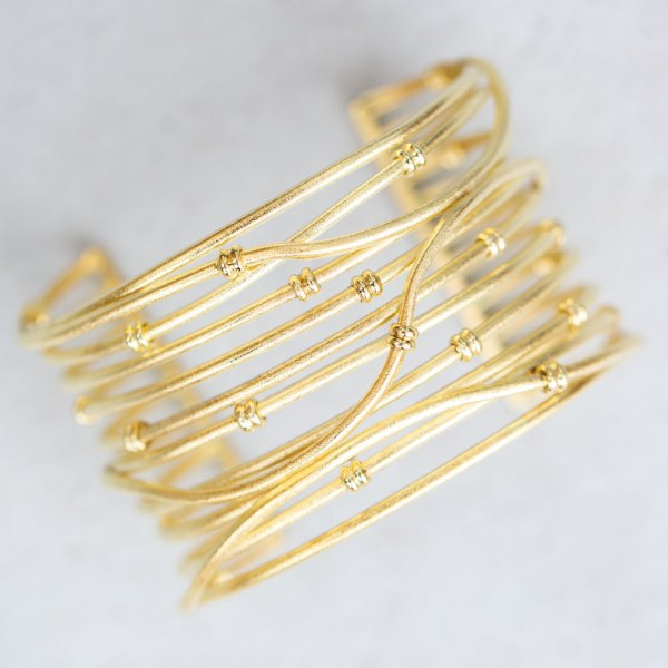 Yellow Gold Satin Row Cuff front view.