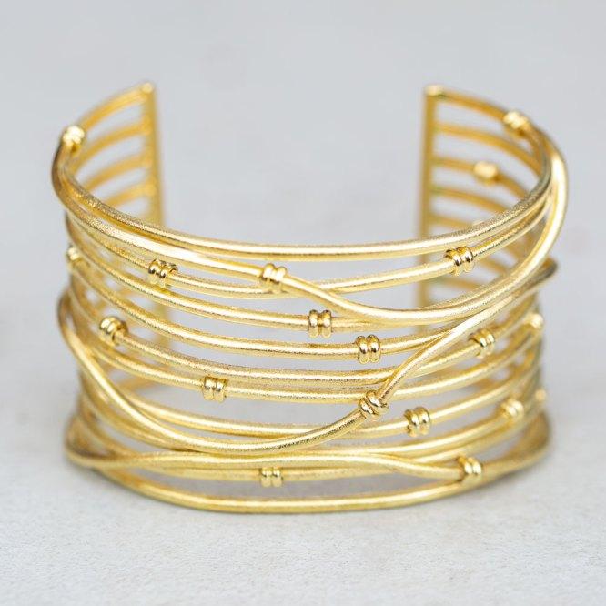 Yellow Gold Satin Row Cuff