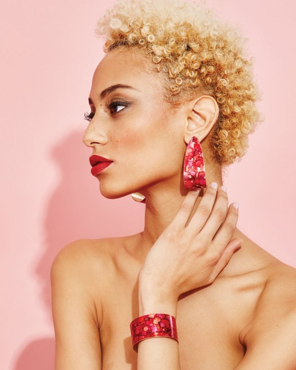 Mars Mini Serpent Earrings and mars band cuff on a model.