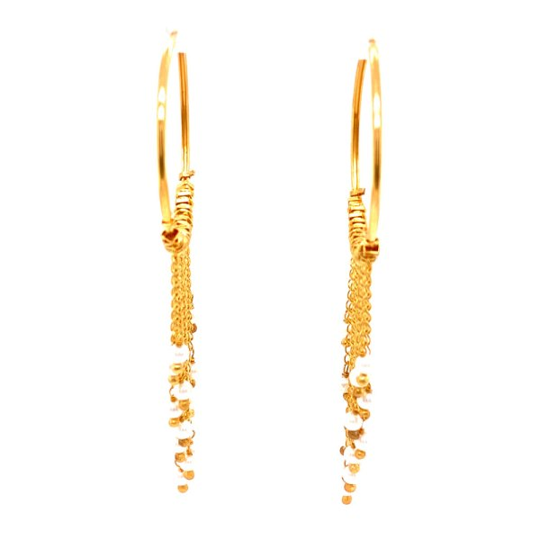 Front view of 18KY Plated Pearl Dangles from Hoop Earrings by Creative Brazil