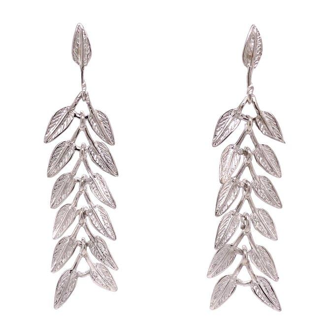 Rhodium Leaves Drop Earrings