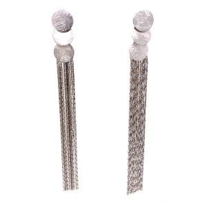 Rhodium Circles Fringe Earrings
