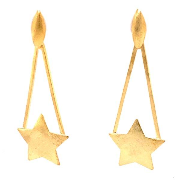 Yellow Gold Star Earrings