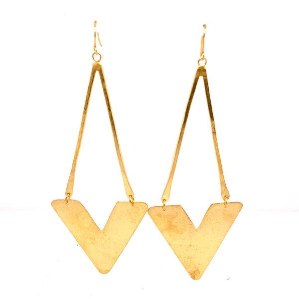 Yellow Gold Arrow Dangle Earrings