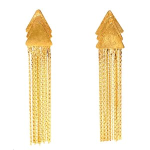 Yellow Gold Triangular Fringe Earrings