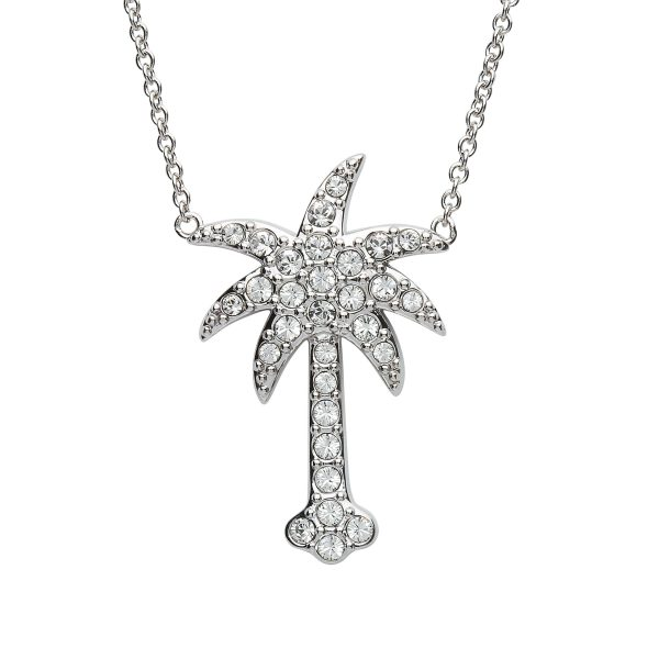 White Crystal Palm Tree Necklace