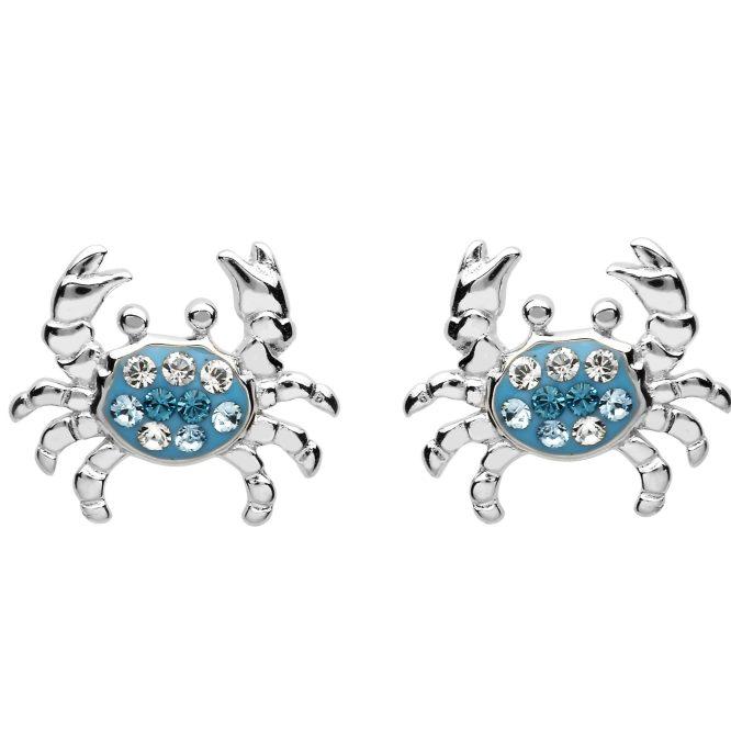 Blue Crystal Crab Stud Earrings