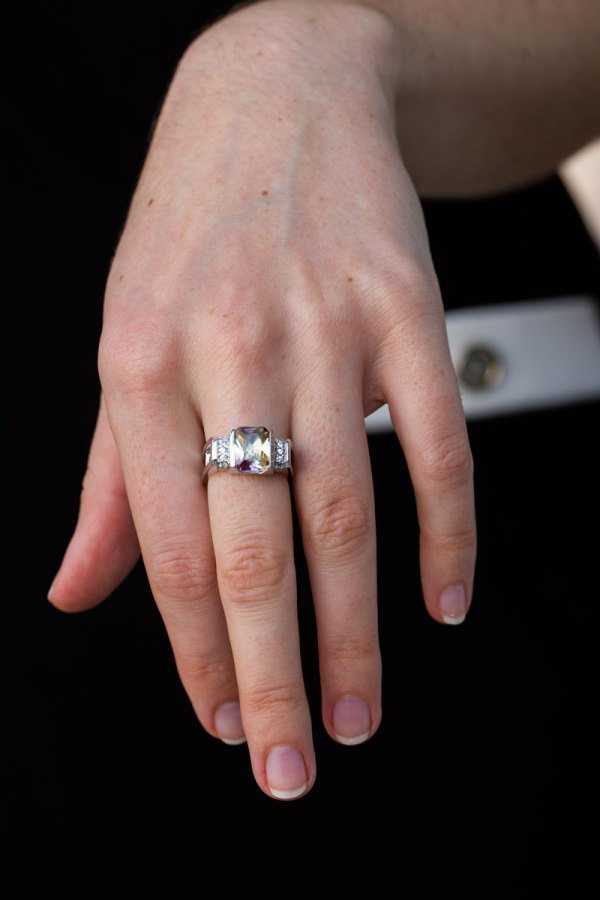 4ct Ametrine Quartz Ring on a models hand.