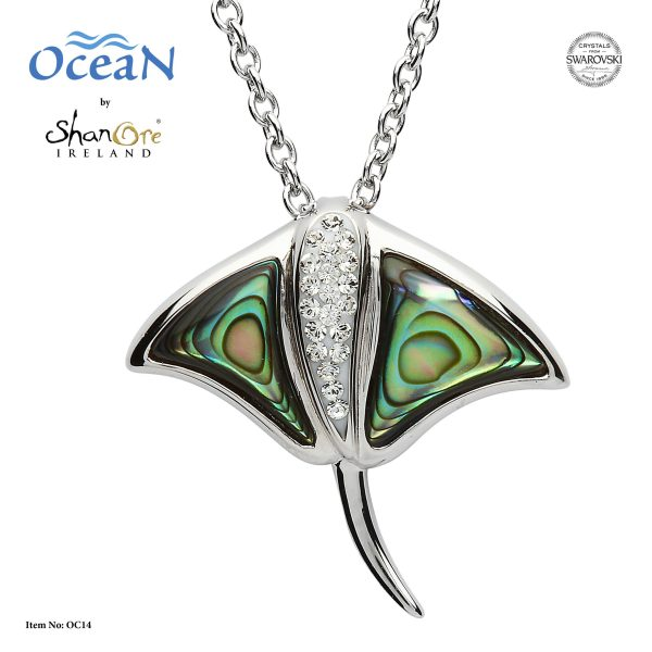Abalone Stingray Necklace front view.