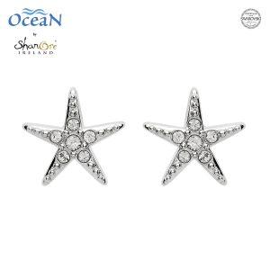 White Crystal Star Fish Stud Earrings