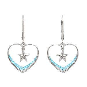 Aqua Heart & Starfish Drop Earrings