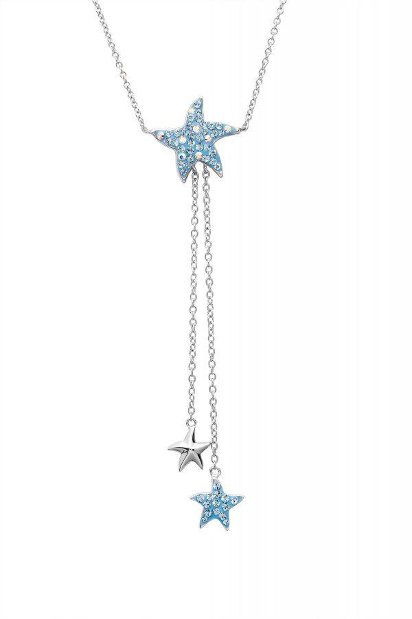 Aqua Starfish Necklace with Starfish Dangles
