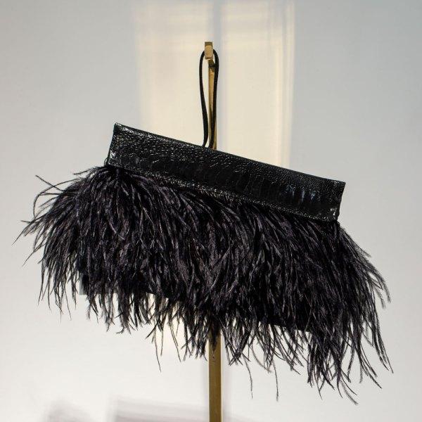 Black Ostrich Feather Clutch
