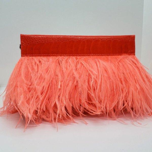 Coral Ostrich Feather Clutch