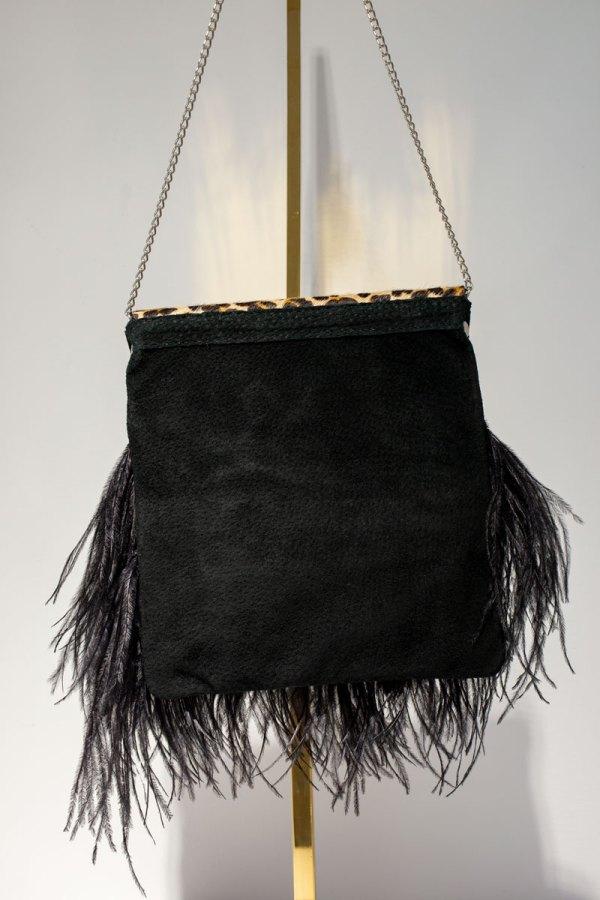 Leopard Print Black Feather Tiffany Bag back view.