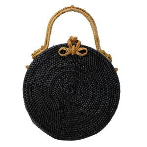 Black Milly Bag with Natural Exterior front view.