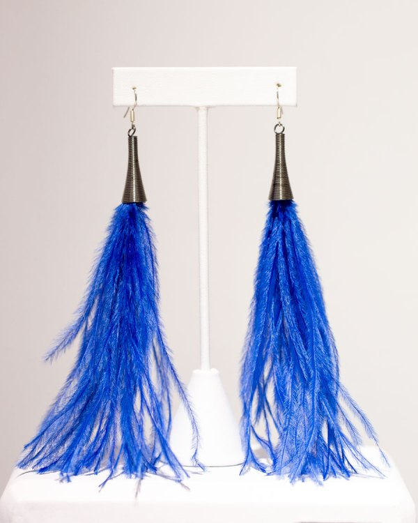 Royal Blue Fluffy Earrings front view.