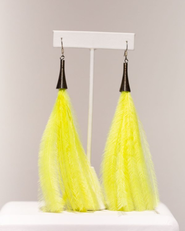 Bright Yellow Ostrich Feather Earrings front view.