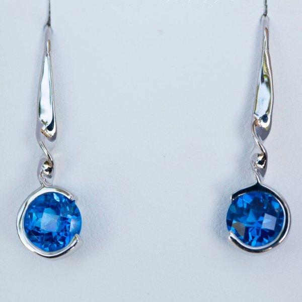 Round Kashmir Blue Topaz Drop Earrings front view.