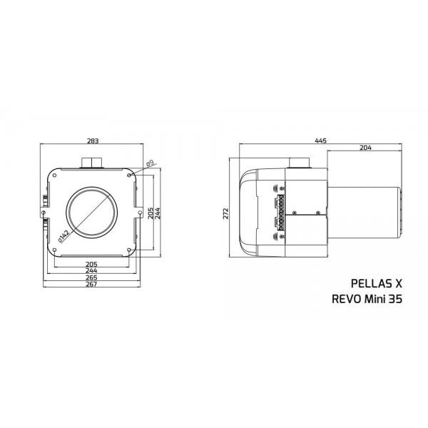 Arzator peleti PellasX Revo Mini 35kw AutoCuratare (pachet)