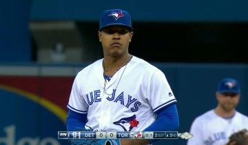 0724a78ab10 VIDEO  Marcus Stroman Stands Like a Statue Waiting for James McCann